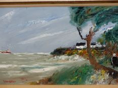 20th.C. CONTINENTAL SCHOOL. A COASTAL VIEW. OIL ON CANVAS, SIGNED INDISTINCTLY. 38 x 55cms.