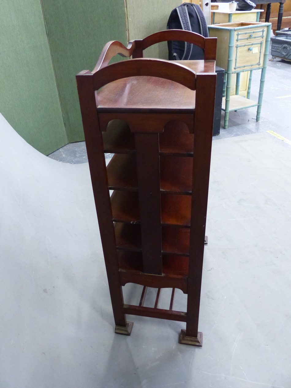 AN ARTS AND CRAFTS STYLE MAHOGANY MUSIC SHELF IN THE MANNER OF SHOOLBRED. 56cm x 31cm x 93cm (H). - Image 4 of 12