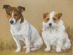 MARY BROWNING (20th/21st.C.). ARR. PORTRAIT OF TWO TERRIERS. PASTEL, SIGNED. 51 x 63cms.