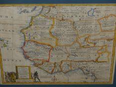 AFTER EMANUEL BOWEN. AN ANTIQUE HAND COLOURED FOLIO MAP OF AFRICAS GOLD COAST. 35 x 44cms.