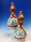 A PAIR OF 19th C. JAPANESE KUTANI PALETTE DOUBLE GOURD VASES PAINTED WITH FLOWER AND MOUNTAIN
