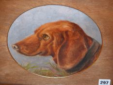 LATE 19th.C. ENGLISH NAIVE SCHOOL. A PAIR OF OVAL DOG PORTRAITS. OIL ON BOARD. 23 x 27cms (2).