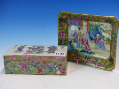 A CANTON TOOTHBRUSH BOX, THE RECTANGULAR LID PAINTED WITH TWO LIBAI STYLE FIGURES. W 19cms. TOGETHER