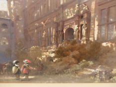 ATTRIBUTED TO L. HAGHE (1806-1885). CAVALIERS CONVERSING IN A PALACE COURTYARD. WATERCOLOUR. 27 x