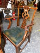 A SET OF FOUR CHIPPENDALE STYLE MAHOGANY DINING CHAIRS INCLUDING TWO WITH ARMS, THE PIERCED VASE