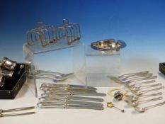 HALLMARKED SILVER ITEMS TO INCLUDE,TWO CASED CRUETS, A SET OF SIX TEA SPOONS, TWO TOAST RACKS, A