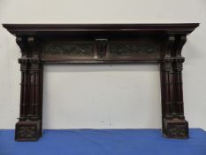 AN ANTIQUE MAHOGANY CARVED FIRE SURROUND IN THE CHIPPENDALE MANNER. 190cm (W) x 120cm (H). (APERTURE