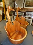 A PAIR OF CONTEMPORARY COOPERED WOODEN BUCKETS WITH BIRD FORM HANDLES. H. 63cm.