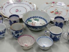 A COLLECTION OF CHINESE PORCELAINS, TO INCLUDE: EIGHT BLUE AND WHITE COFFEE CUPS, TWO FAMILLE ROSE