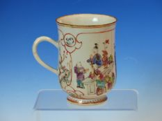 A CHINESE EXPORT MUG PAINTED WITH WOMEN AND CHILDREN ABOUT A TABLE ONE PLAYING A CYMBAL. H 12cms.