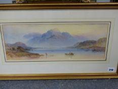 EDWIN AARON PENLEY (1806-1870). A SCOTTISH LOCH. MONOGRAMMED, WATERCOLOUR. 19 x 48cms.