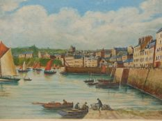 E. FAGOT (20th.C.). ARR. A FISHING VILLAGE. OIL ON CANVAS, SIGNED AND INSCRIBED. 36 x 53cms.