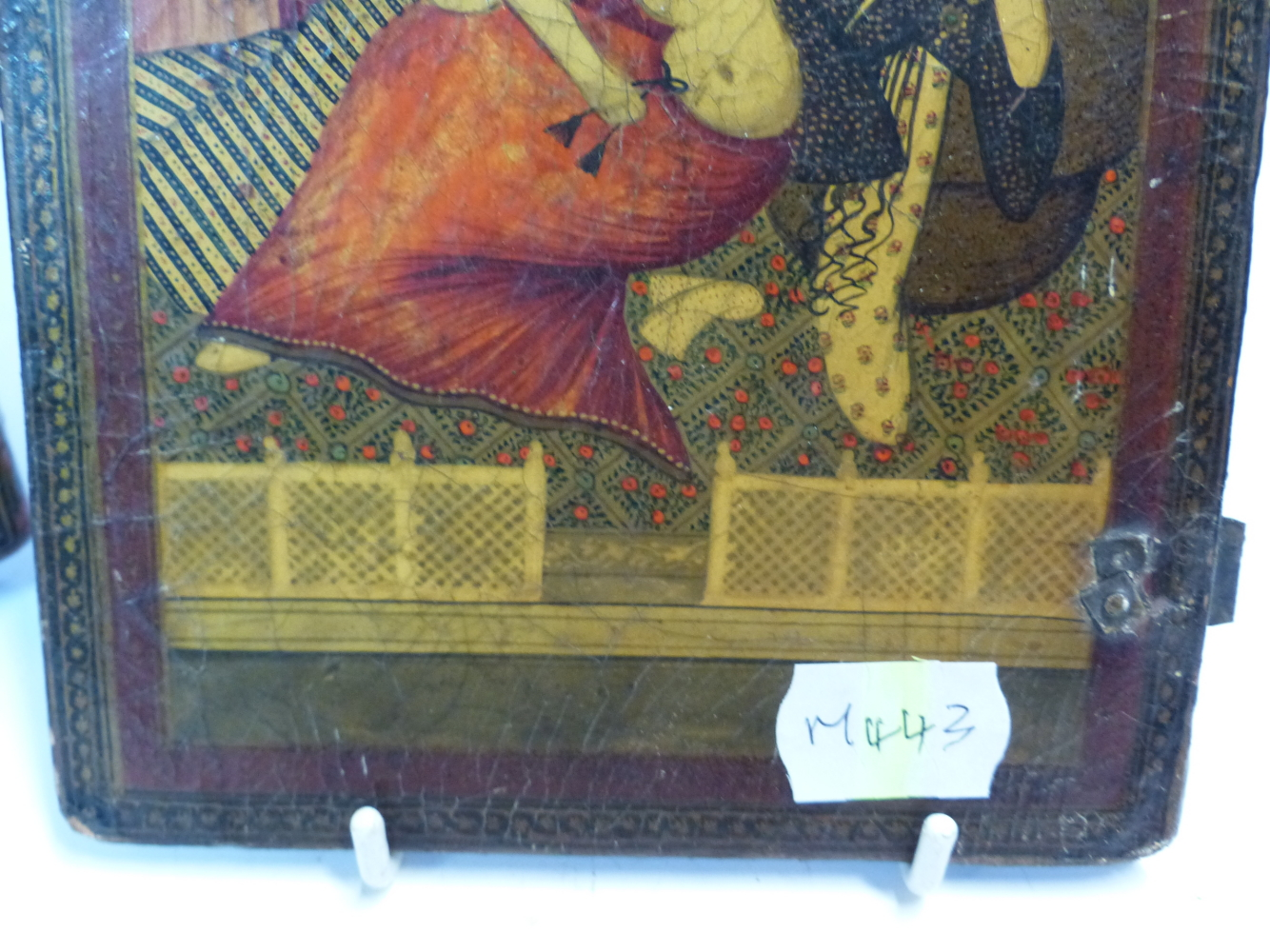 Lot 2333 - TWO PERSIAN LACQUER BOX LIDS, ONE PAINTED ON BOTH SIDES WITH ASLEEPING ATTENDANTS