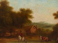 EARLY 19th.C. ENGLISH SCHOOL. CATTLE WATERING. OIL ON CANVAS. 40 x 51cms.