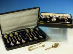 A CASED SET OF TWELVE TEA SPOONS AND A PAIR OF SUGAR NIPS DATED 1921 SHEFFIELD, FOR WALKER AND
