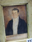 19th.C. ENGLISH NAIVE SCHOOL. A MINIATURE PORTRAIT OF A GENTLEMAN, REPUTED TO BE TOM CRIBB, BOXER.