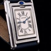 A CARTIER BASCULANTE LADIES STAINLESS STEEL,TANK WATCH, MODEL NUMBER 2386, SERIAL NUMBER 350367CD,