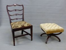 A VICTORIAN ROSEWOOD FRAMED DRESSING STOOL, TOGETHER WITH A GEORGE III MAHOGANY PIERCED LADDER