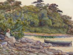 A. A. COOMBS (19th/20th.C. ENGLISH SCHOOL). LOOKING OVER THE ESTUARY. SIGNED WATERCOLOUR. 34 x