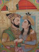 A LARGE 19th.C. INDIAN WATERCOLOUR. AN OVAL PORTRAIT OF ARISTOCRATIC LOVERS IN AN INTERIOR.