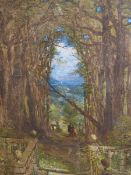 19th.C. ENGLISH SCHOOL. A VISTA PAST THE TERRACE TO THE VALLEY BEYOND. WATERCOLOUR. 112 x 86cms.