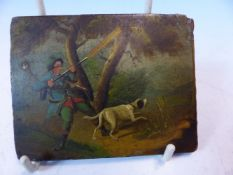 A 19th C. GERMAN PAINTING ON PAPIER MACHE A PULLING DOG LEADS THE HUNTER TO LET OFF HIS GUN BY