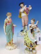A PAIR OF GERMAN PORCELAIN FIGURES OF A FLAUTIST PLAYING TO A DANCING LADY. H 25cms. A GERMAN