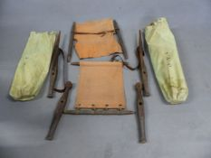 A PAIR OF VINTAGE CAMPAIGN SAFARI CHAIRS, COMPLETE IN CANVAS CARRY BAGS (2).