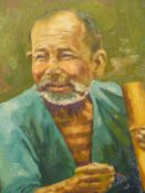 EARLY 20th.C. SOUTH EAST ASIAN SCHOOL. PORTRAIT OF AN ARTISAN. OIL ON CANVAS, SIGNED INDISTINCTLY.