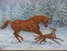 MARY BROWNING (20th/21st.C.). ARR. PLAYFUL FRIENDS. PASTEL, SIGNED. 48 x 67cms.