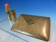 A STERLING SILVER AND 750 STAMPED LADIES MAKEUP COMPACT SET WITH A RED GEMSTONE IN THE FORM OF AN