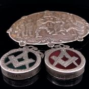 A DUTCH SILVER BROOCH DEPICTING A COUNTRY SCENE WITH MAKERS MARK TO REVERSE GH3 AND SWORD MARK,
