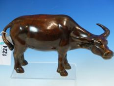 A CHINESE BRONZE FIGURE OF A WATER BUFFALO. H. 13cm.