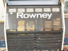 A ROWNEY TABLE TOP ART SHOP DISPLAY CABINET FOR PASTELS, CONTAINING SIX SLIDES FORMERLY USED BY MARY