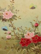 20th.C. ORIENTAL SCHOOL. FLOWERS WITH BUTTERFLIES. OIL ON CANVAS. SIGNED WITH SEAL AND CHARACTERS.