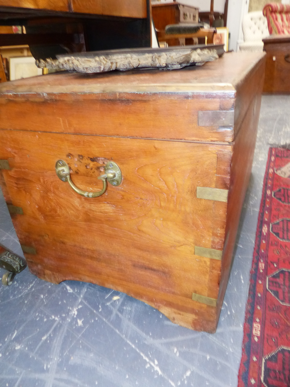 Lot 2456C - AN ANTIQUE CAMPHOR WOOD CHEST WITH BRASS MOUNTS