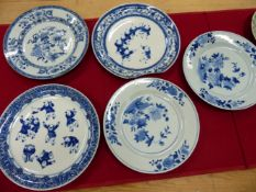FIVE VARIOUS CHINESE BLUE AND WHITE PLATES, A CANTON CELADON GROUND PLATE AND A GUANGDONG FIGURE