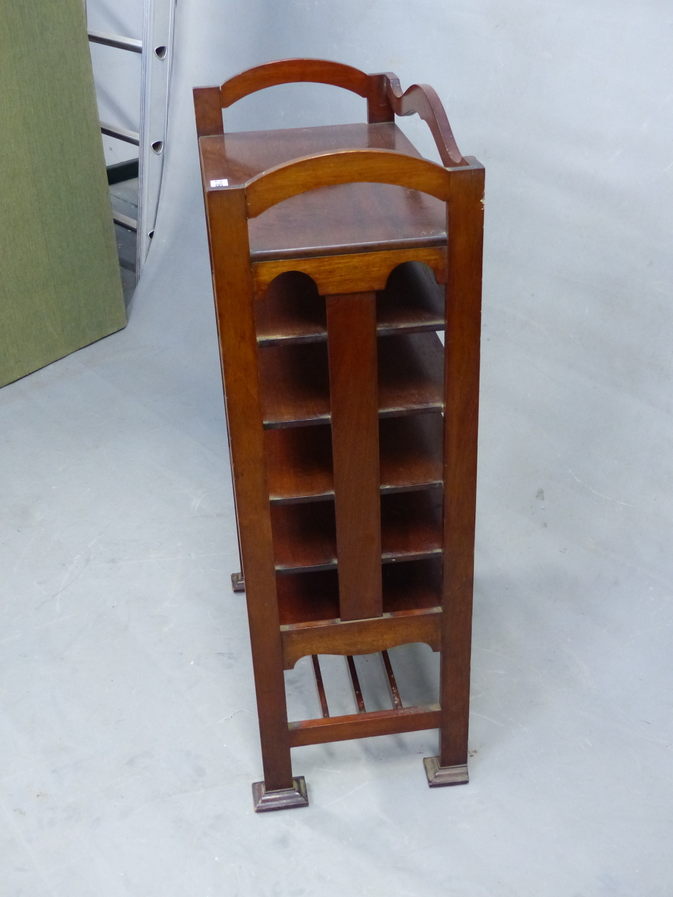 AN ARTS AND CRAFTS STYLE MAHOGANY MUSIC SHELF IN THE MANNER OF SHOOLBRED. 56cm x 31cm x 93cm (H). - Image 2 of 12