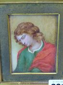 A PORTRAIT MINIATURE OF A MAN WITH LONG BROWN HAIR LOOKING DOWNWARDS, A RED CLOAK OVER HIS GREEN