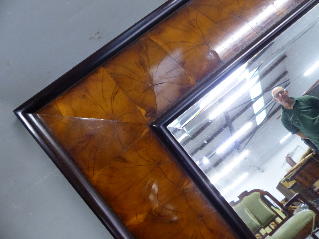 Lot 2189 - AN IMPRESSIVE WILLIAM AND MARY STYLE LARGE CUSHION FRAME OYSTER VENEER WALL MIRROR. 122 x 109cms.