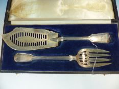 TWO VICTORIAN HALLMARKED SILVER FISH SERVERS CASED TOGETHER DATED 1872- AND 1887. WEIGHT 343grms.