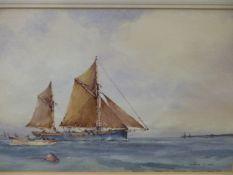 FRANCIS S. LEKE (1912-****). ARR. THREE MARINE VIEWS. SIGNED WATERCOLOURS. 25 x 35cms (3).