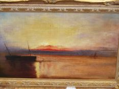 EARLY 20th.C. ENGLISH SCHOOL. LOW TIDE AT SUNSET. INITIALLED F.J.M. OIL ON CANVAS. 23 x 36cms.