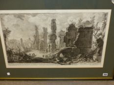 AFTER PIRANESI (1720-1778). TWO ANTIQUE FOLIO PRINTS OF ROMAN RUINS. 43 x 57cms AND 40 x 63cms (2).