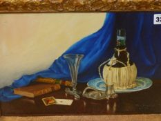 20th.C. ENGLISH SCHOOL. A TABLE TOP STILL LIFE. OIL ON BOARD, SIGNED INDISTINCTLY. 25 x 35cms.