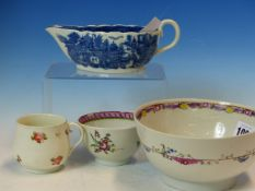 FOUR 18th/19th C. ENGLISH PORCELAINS, A DERBY CUSTARD CUP, NEW HALL TYPE TEA AND SLOP BOWLS TOGETHER