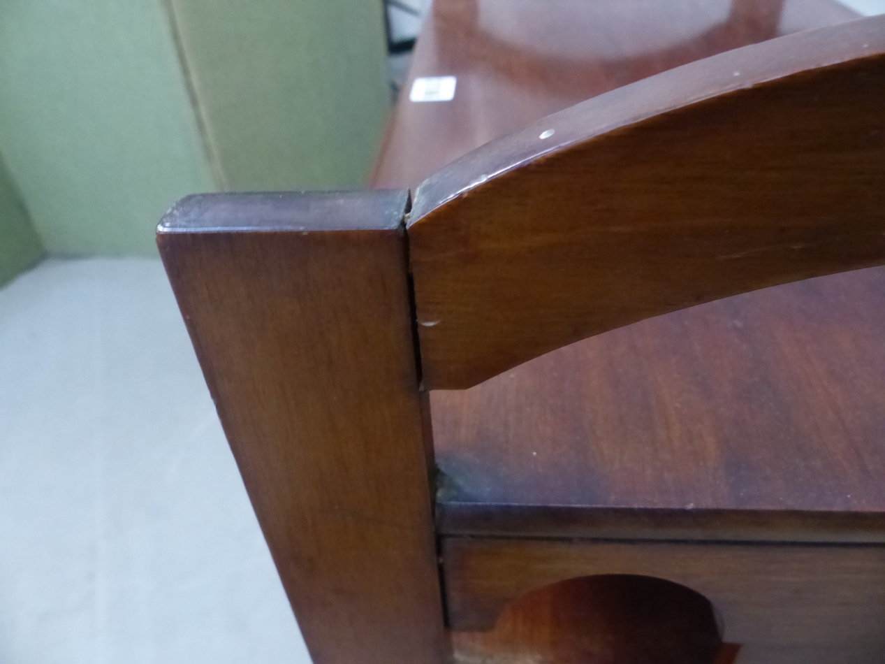 AN ARTS AND CRAFTS STYLE MAHOGANY MUSIC SHELF IN THE MANNER OF SHOOLBRED. 56cm x 31cm x 93cm (H). - Image 9 of 12