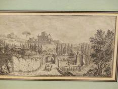 AFTER GUISEPPI ZOCCHI (1711-1767). A PAIR OF ANTIQUE ITALIAN LANDSCAPE PRINTS. 28 x 47cms (2).