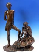 JANE HAMILTON (b. 1950). ARR. WATCHING AND WAITING. SIGNED LIMITED EDITION BRONZE. H. 53cm.