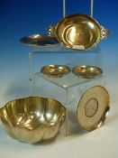 A HALLMARKED SILVER LOBED SMALL ENGRAVED DISH DATED 1911 BIRMINGHAM, TWO SMALL HALLMARKED PIN TRAYS,